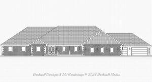 Elevation Rendering for Bridgeport Model Custom Home Design by Benhardt Construction Design | Build Studio