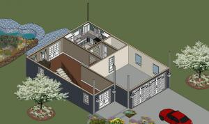 Ponderosa Lower Floor Front Left Isometric View