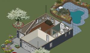 Ponderosa Lower Floor Front Right Isometric View