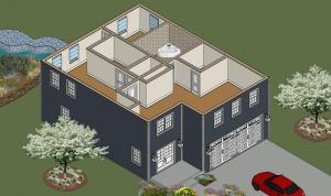 Ponderosa Upper Floor Front Left Isometric View