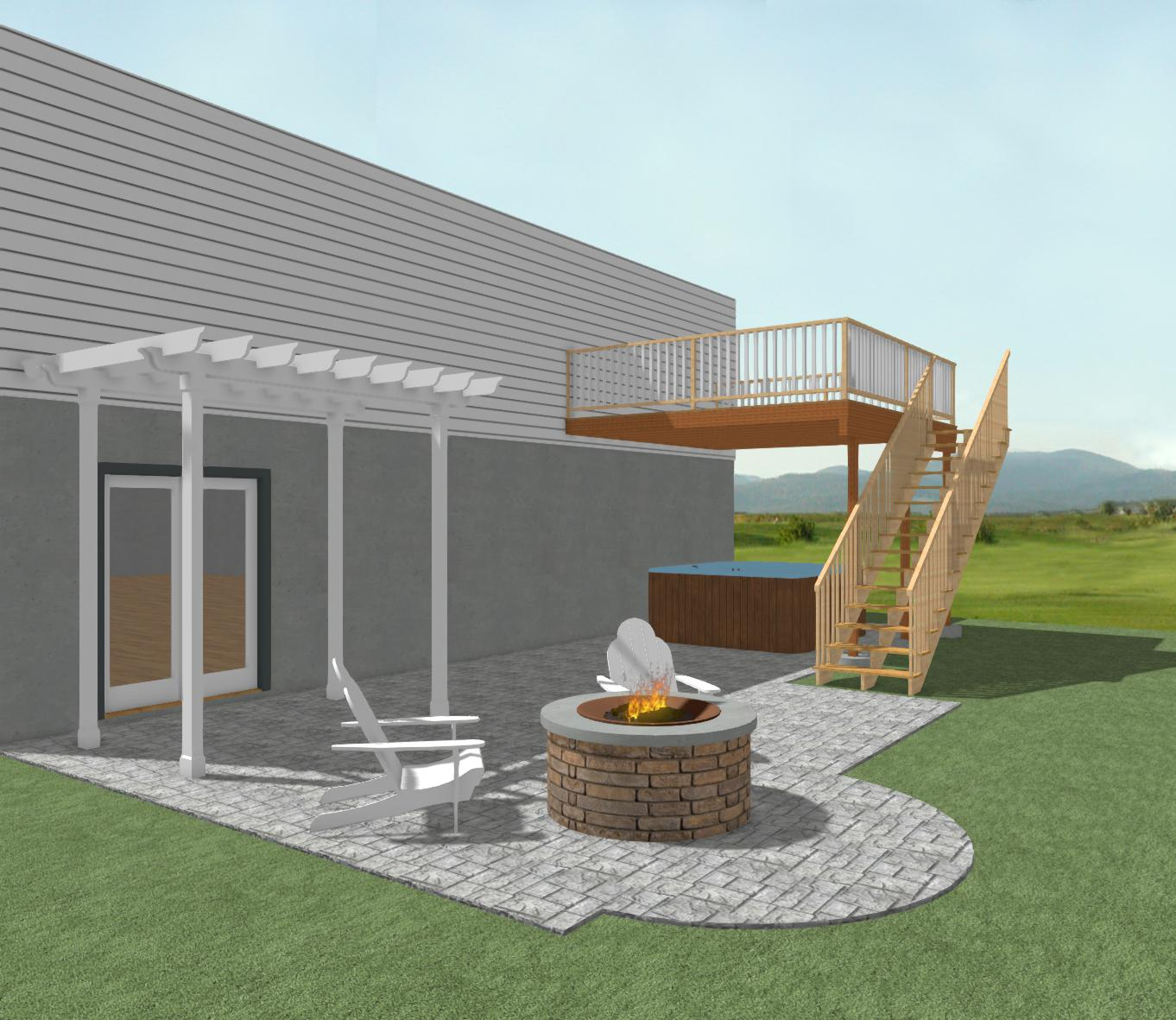 Stamped Patio Design Concept 3 With Pergola And Firepit